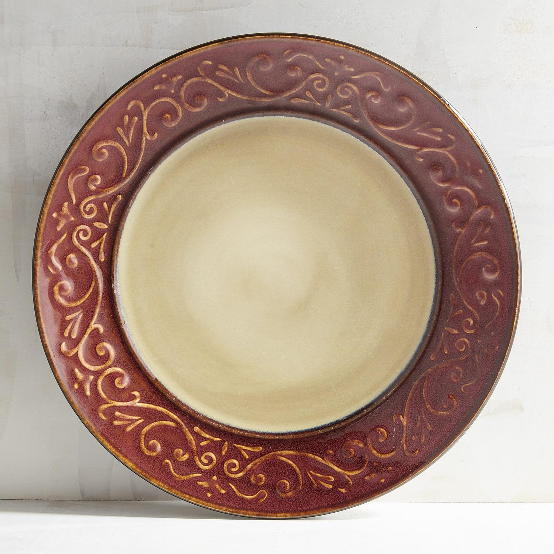 Red Scroll Ceramic Dinner Plate