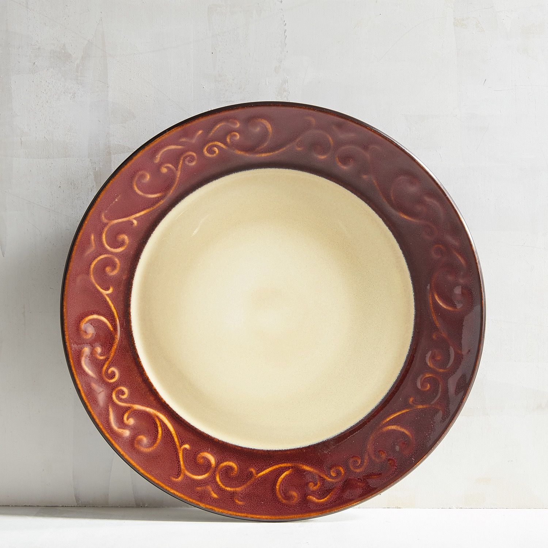 Red Scroll Ceramic Salad Plate