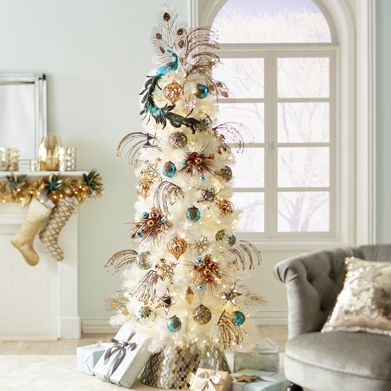 Sequined Amber Drop Ornament