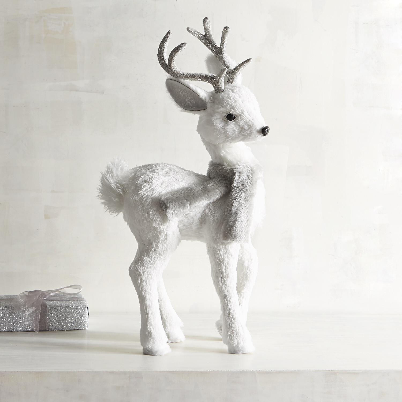Natural Standing Medium White Deer