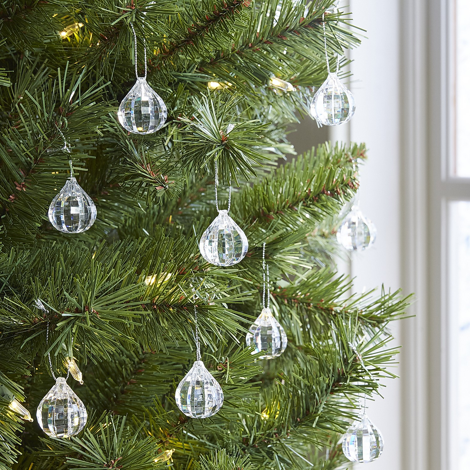 Boxed Set of 24 Clear Gem Acrylic Ornaments