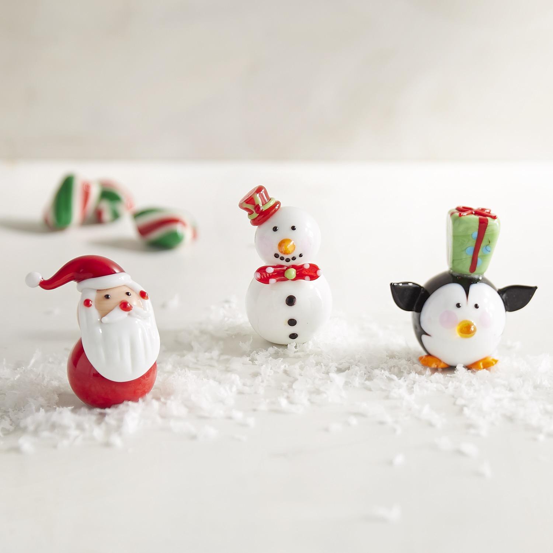 Glass Santa, Snowman & Penguin Figurine Set