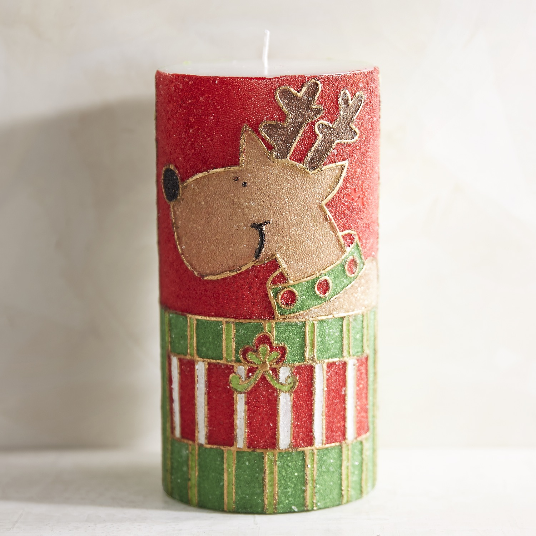 Reindeer Unscented 3x6 Pillar Candle