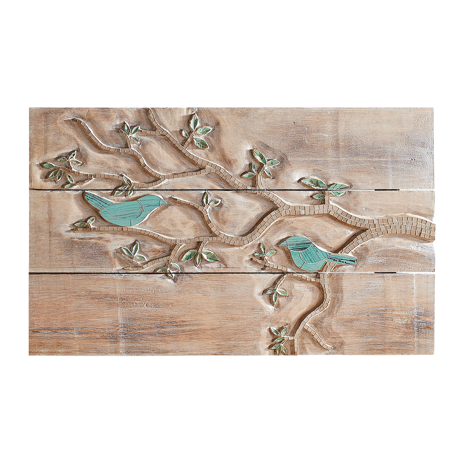 variation thumbnail of Birds Whitewashed Planked Wall Decor