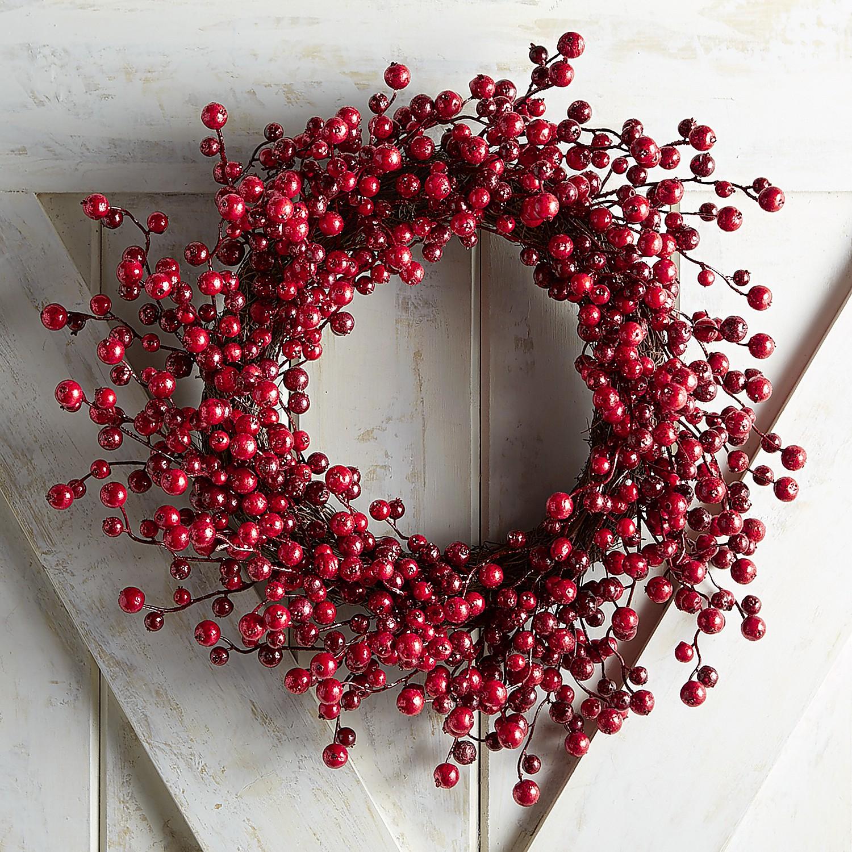 "Red Glitter Berry 21"" Wreath"