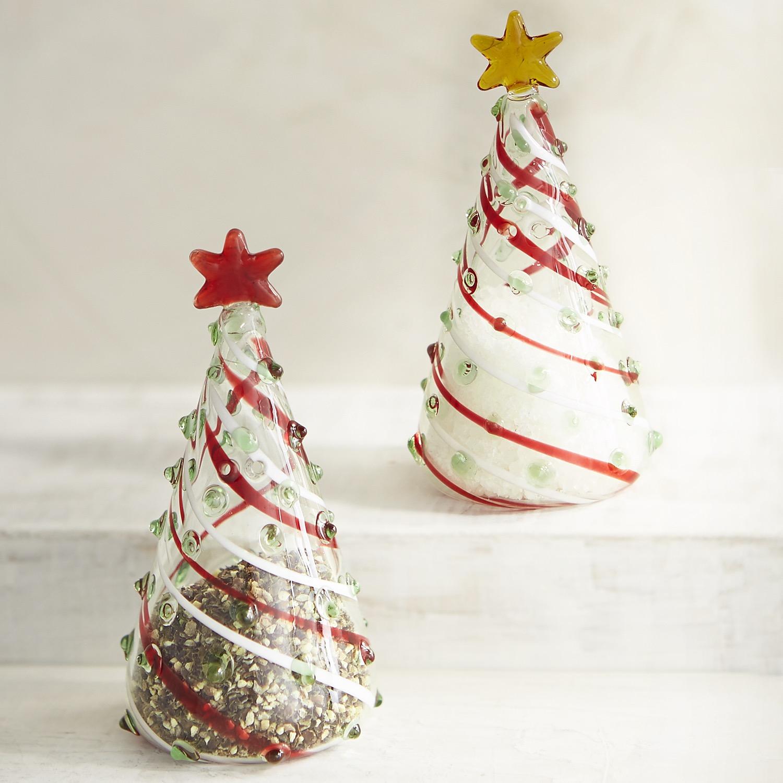 Glass Christmas Tree Boxed Salt & Pepper Shakers