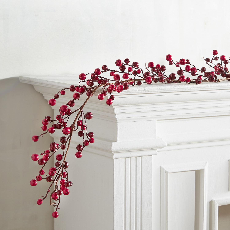 Red Glitter Berry 6' Garland