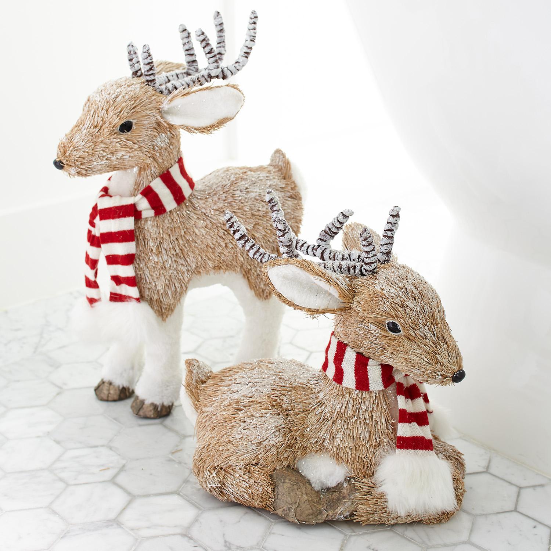 Natural Sitting Medium Faux Fur Deer