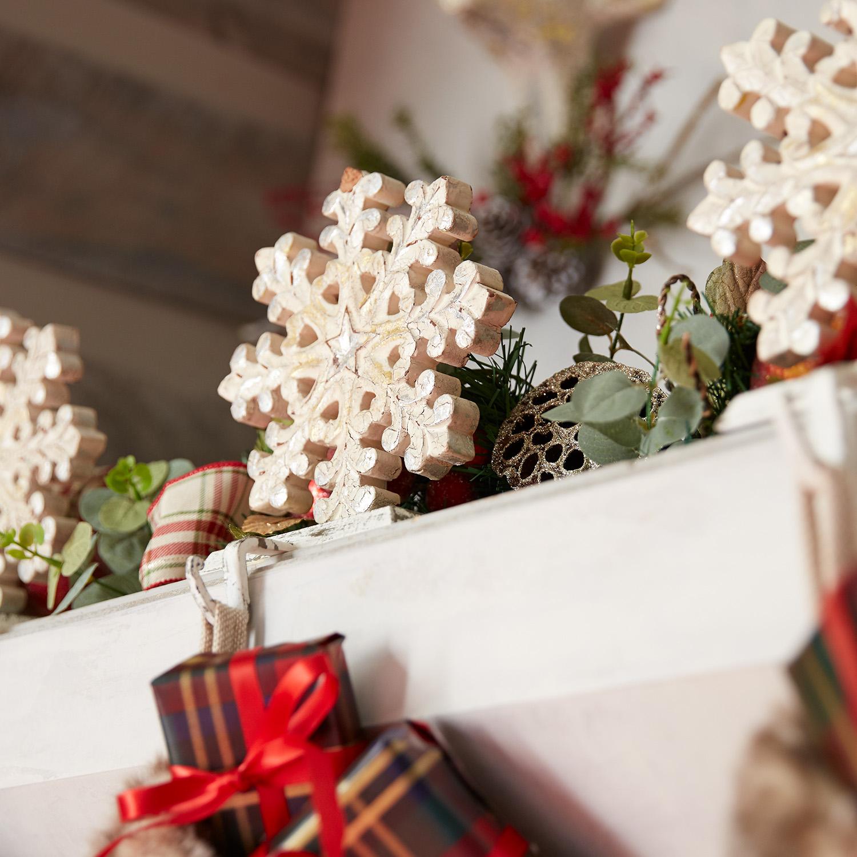Carved Wood Snowflake Stocking Holder