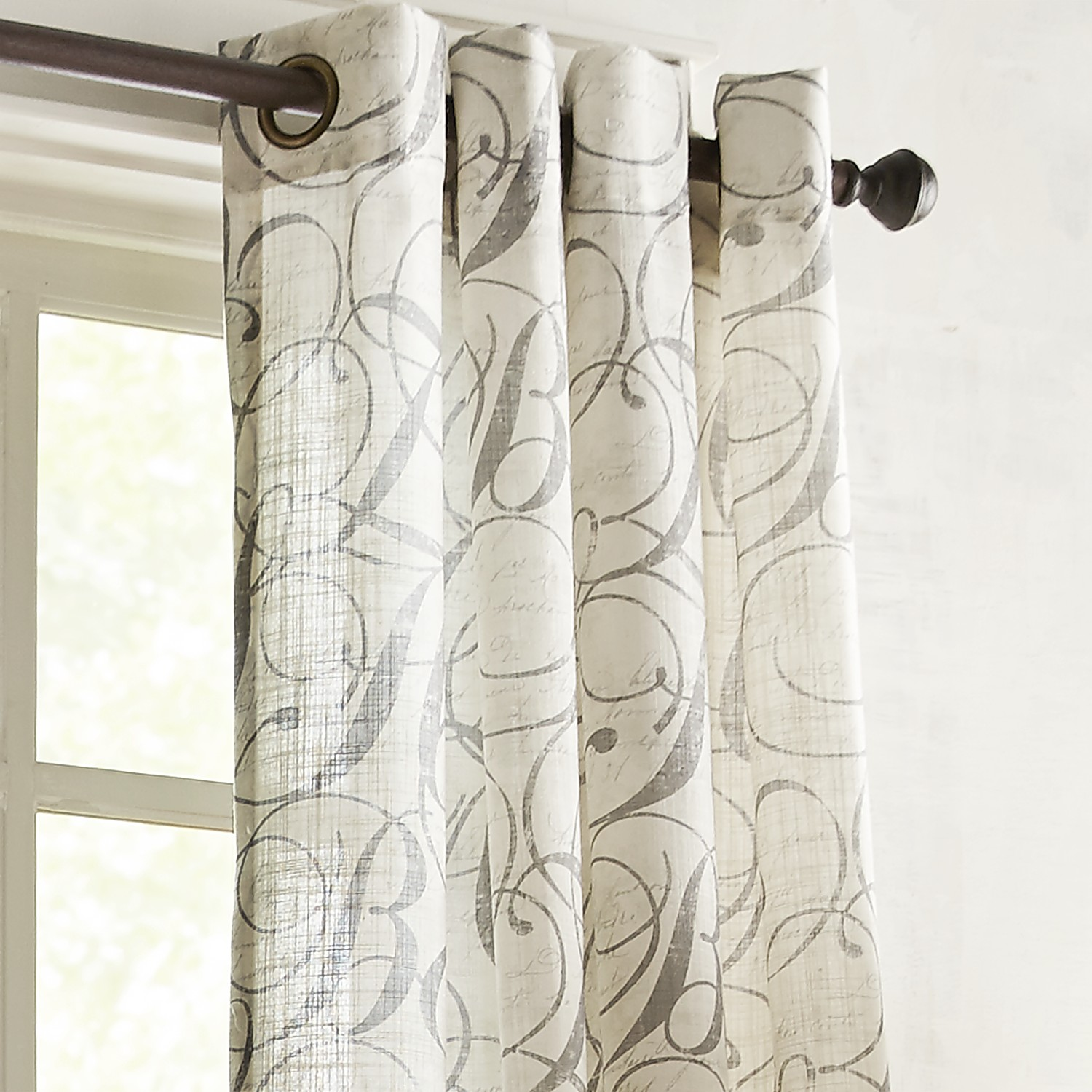 """Gray Calligraphy 96"""" Grommet Curtain"""