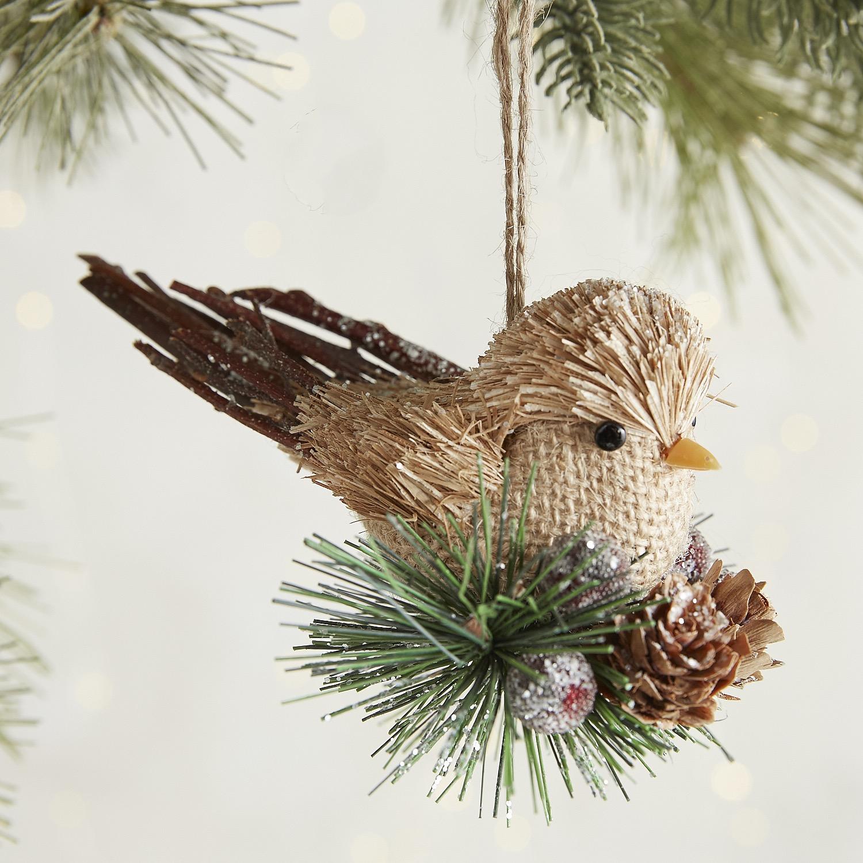 Natural Burlap Bird Ornament