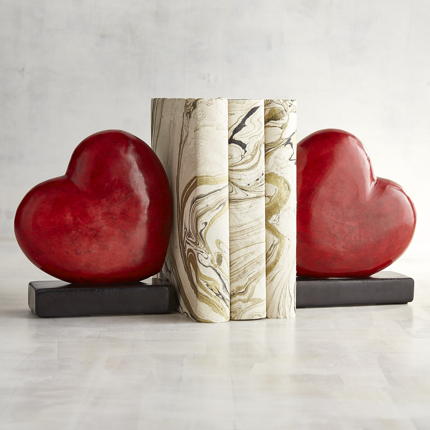 Soapstone Heart Bookend Set