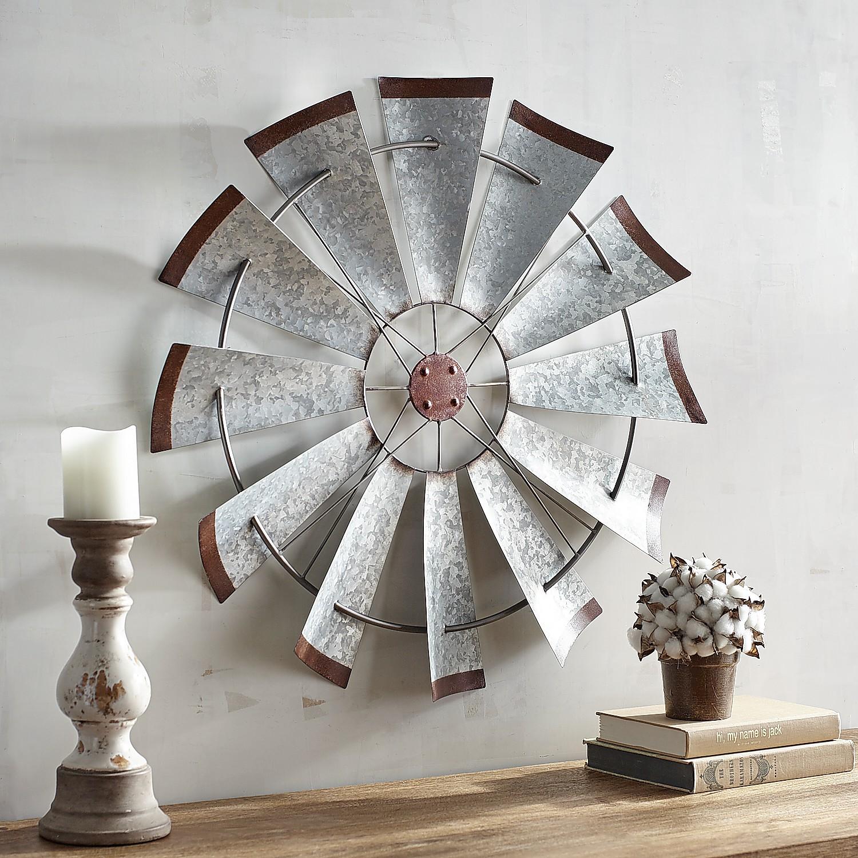 Galvanized Windmill Wall Decor