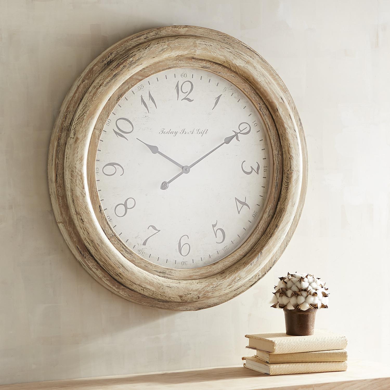 Oversized Whitewashed Merville Wall Clock