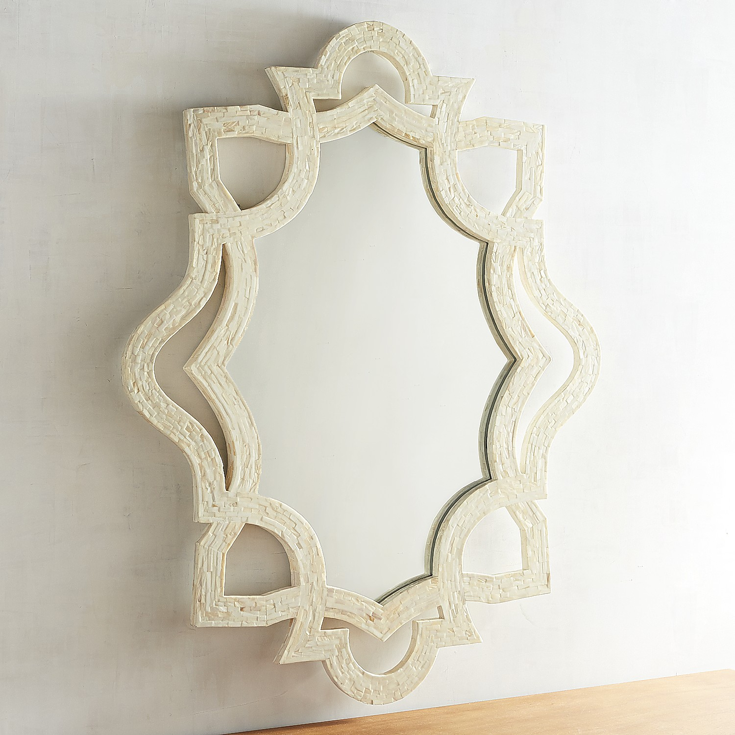Ivory Mother-Of-Pearl Shaped Mirror
