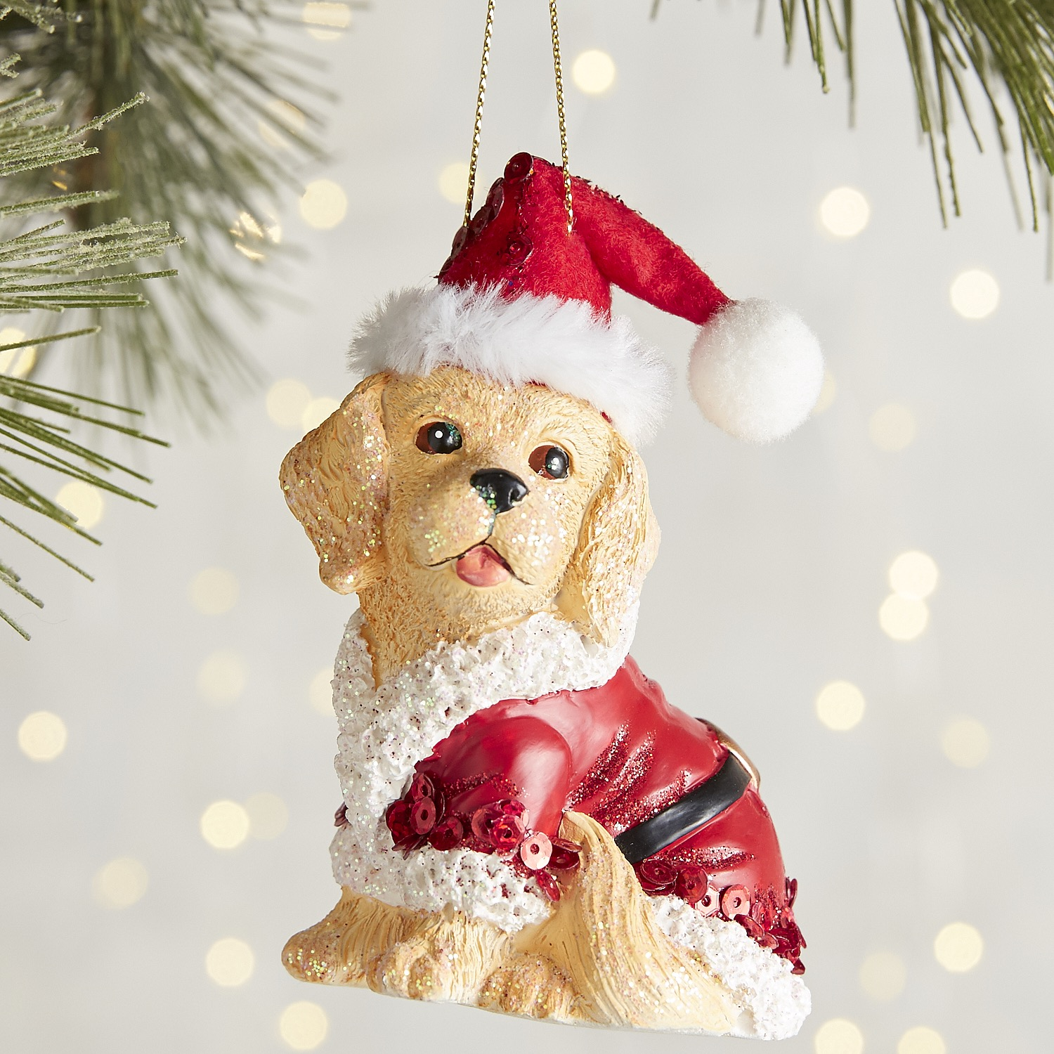 Santa Suit Dog Ornament