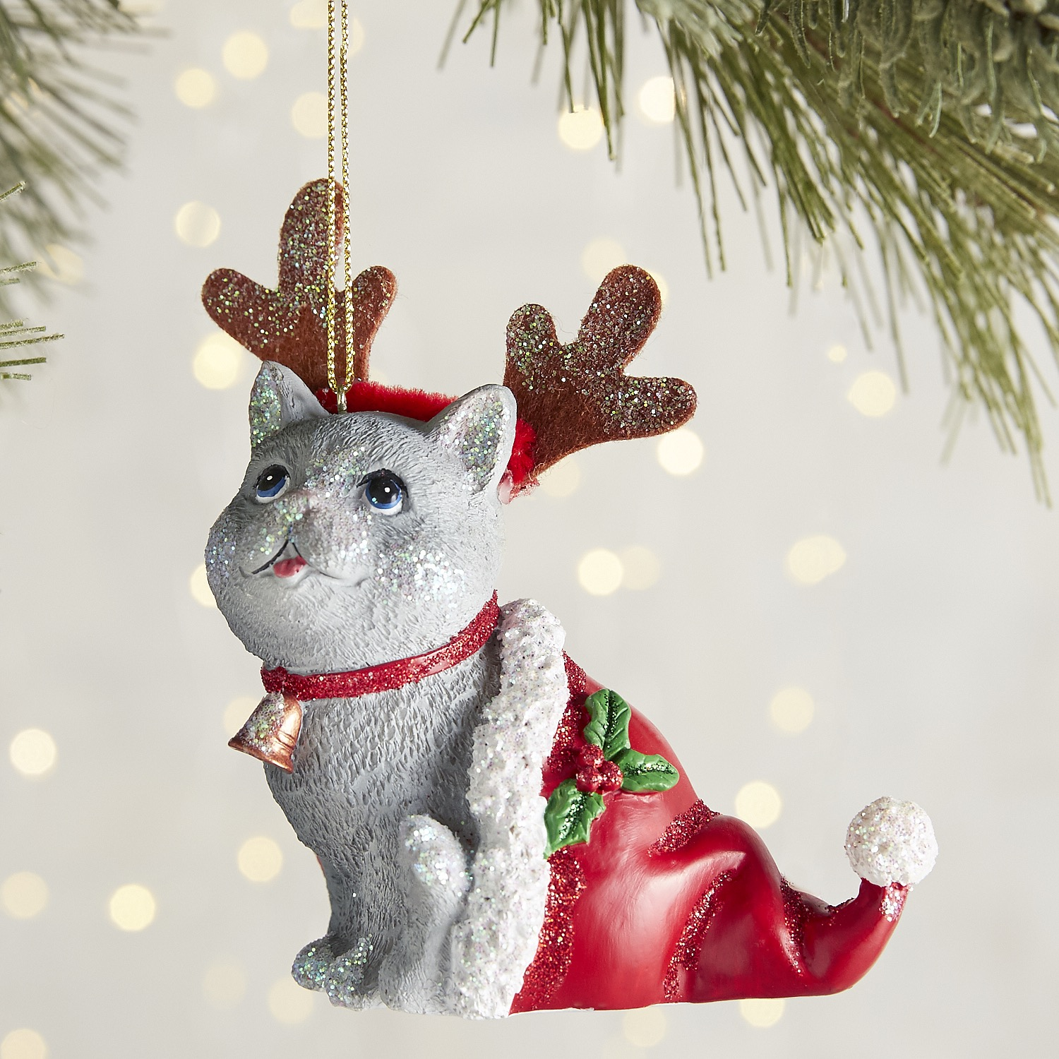 Cat with Antlers Ornament