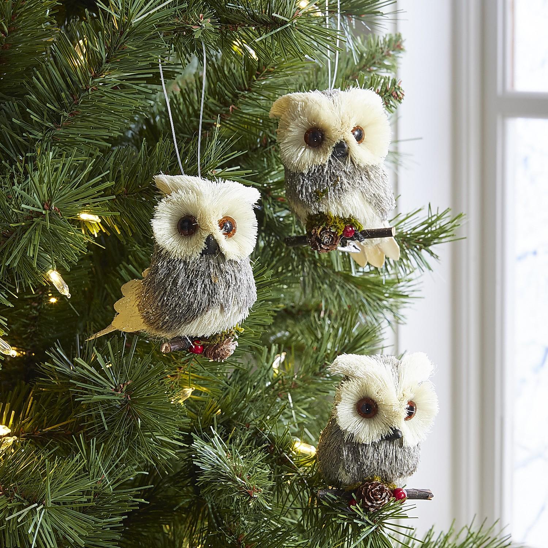 Boxed Set of 3 Natural Owl Ornaments