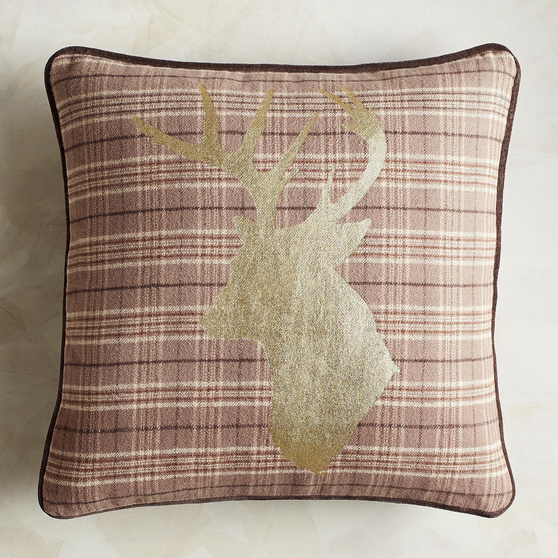 Natural Plaid Reindeer Pillow