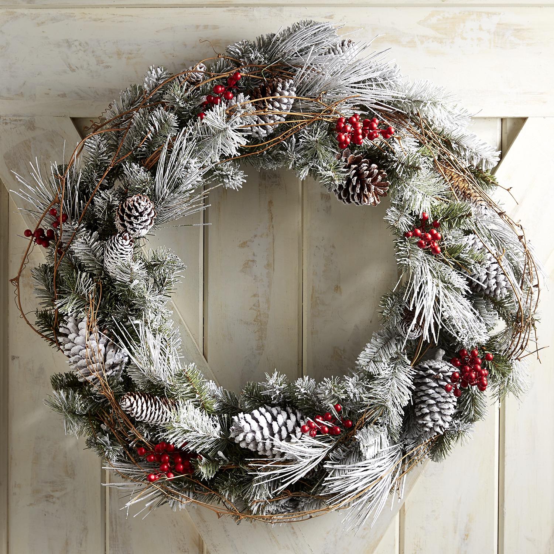"""Oversized Pre-Lit Snowy Pine 30"""" Wreath"""