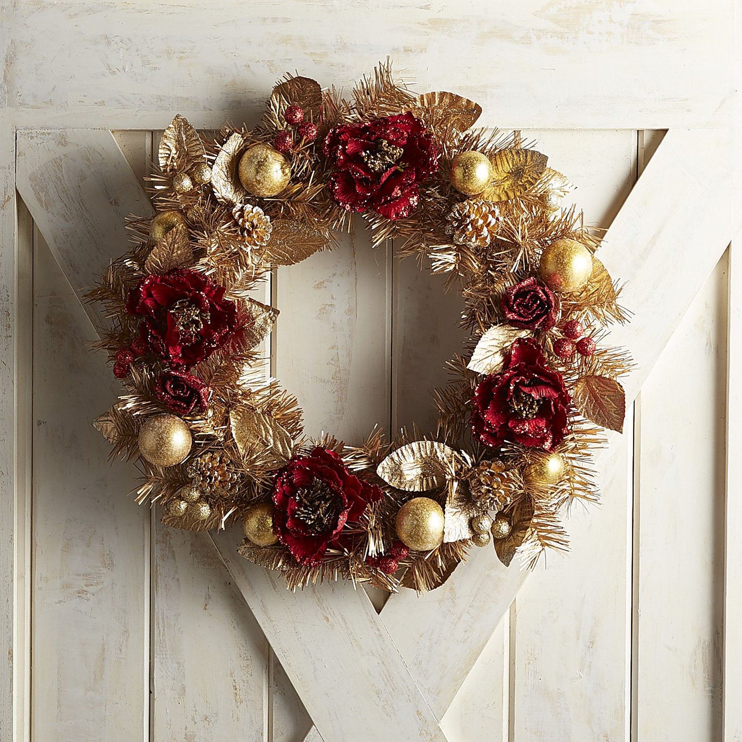 "Crimson Chic 24"" Red & Gold Wreath"