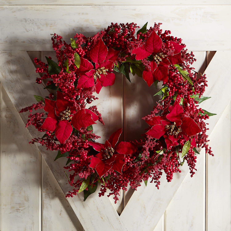 "Faux Berry & Poinsettia 22"" Wreath"