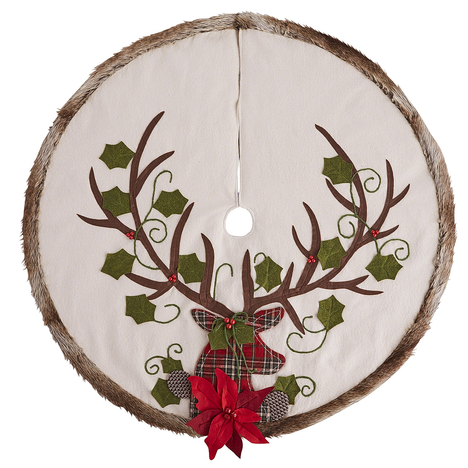 Plaid Deer & Faux Fur Embroidered Tree Skirt