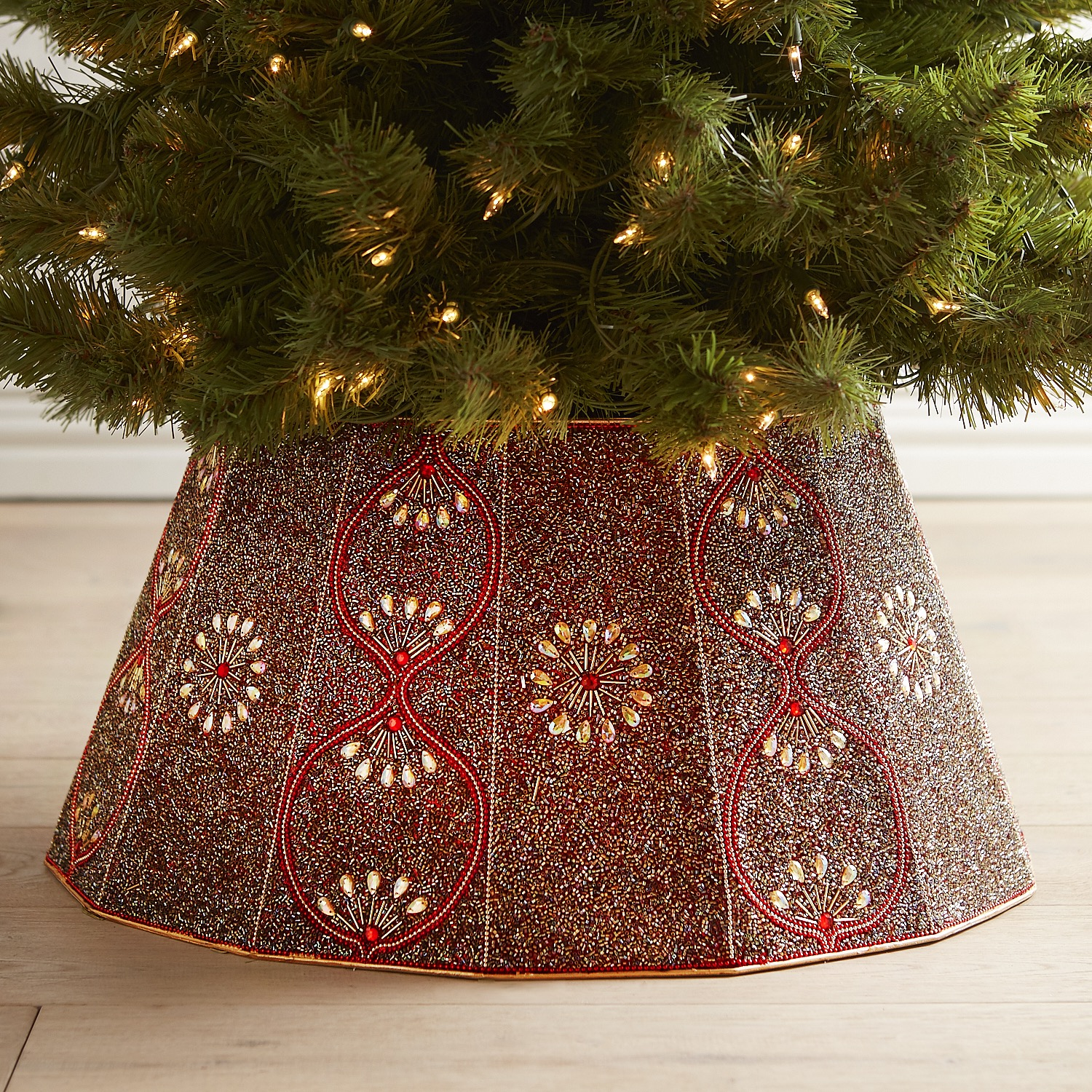 Beaded Red & Gold Tree Collar