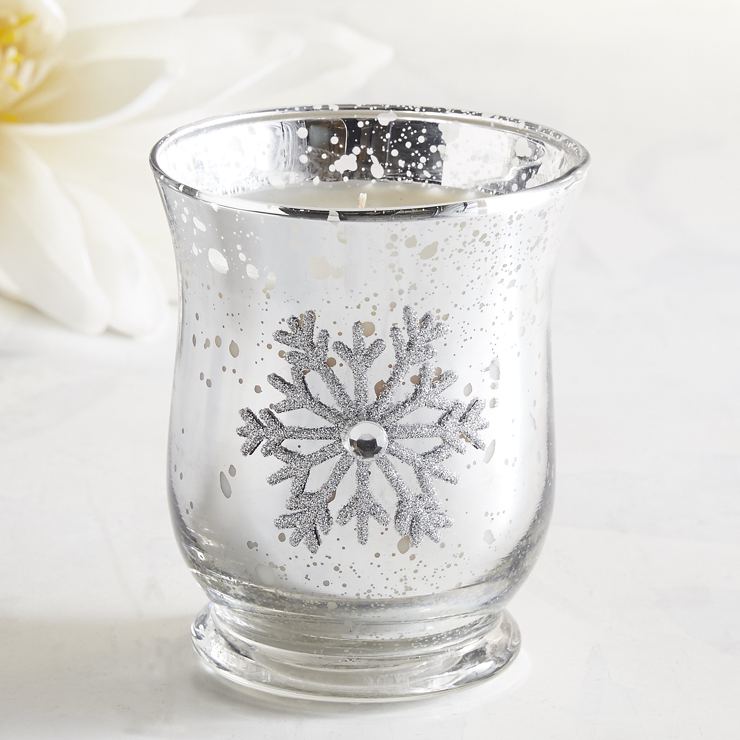 Snowy Birch Jeweled Filled Candle