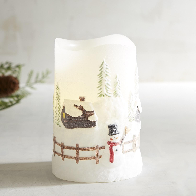 Winter Scene LED Pillar Candle