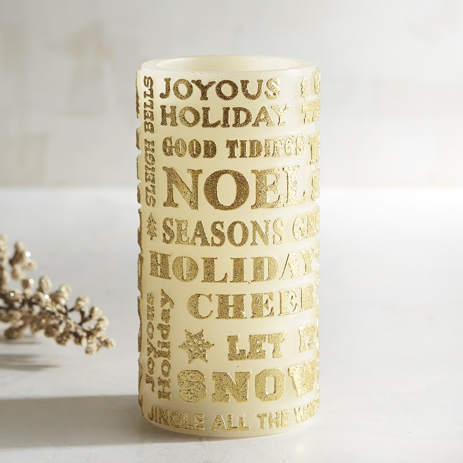 variation thumbnail of Golden Sentiment 3x6 LED Pillar Candle