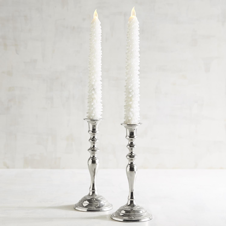 White Tree LED Taper Candle Set