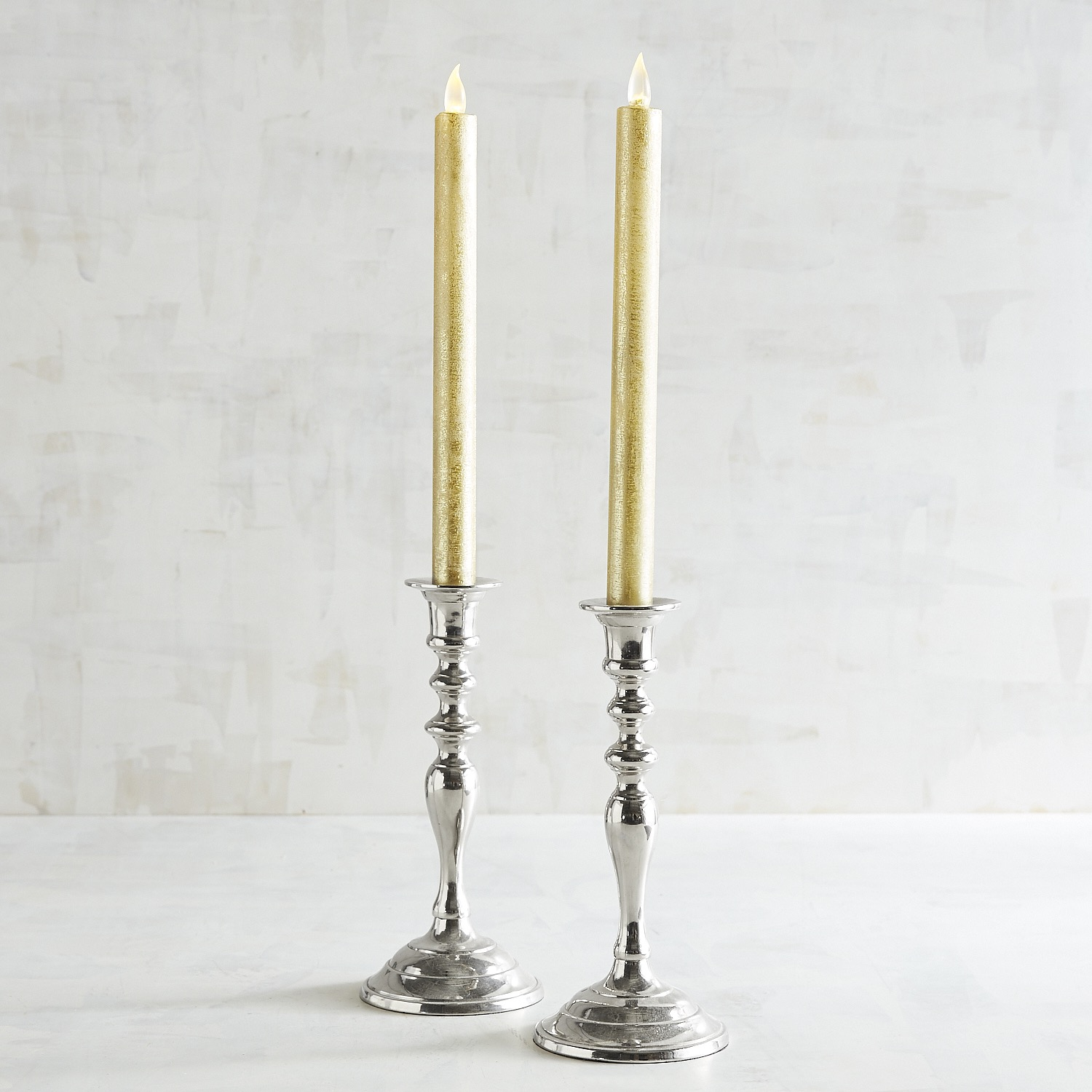 Distressed Gold LED Taper Candle Set