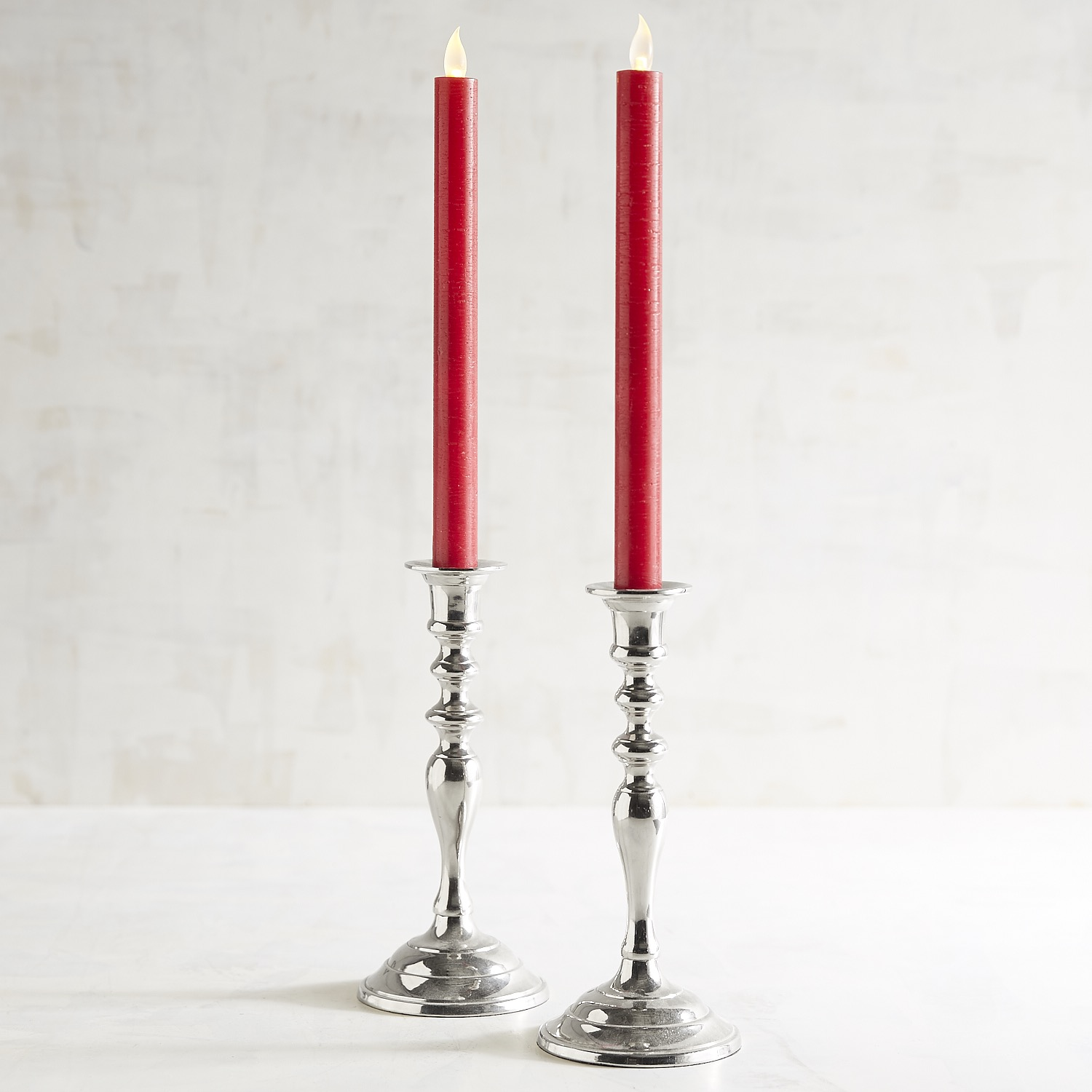 Distressed Red LED Taper Candle Set