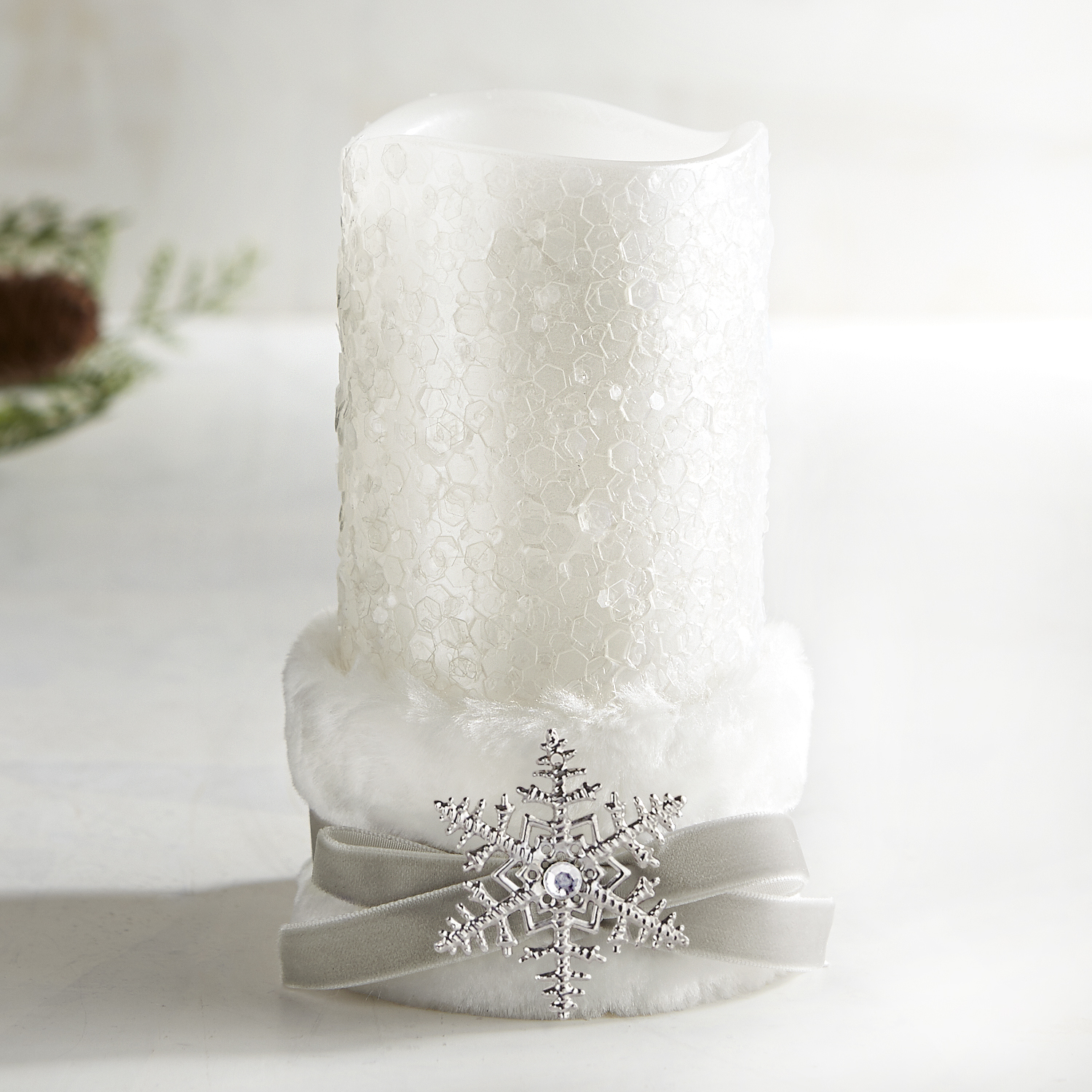 Faux Fur Belted 3x6 LED Pillar Candle