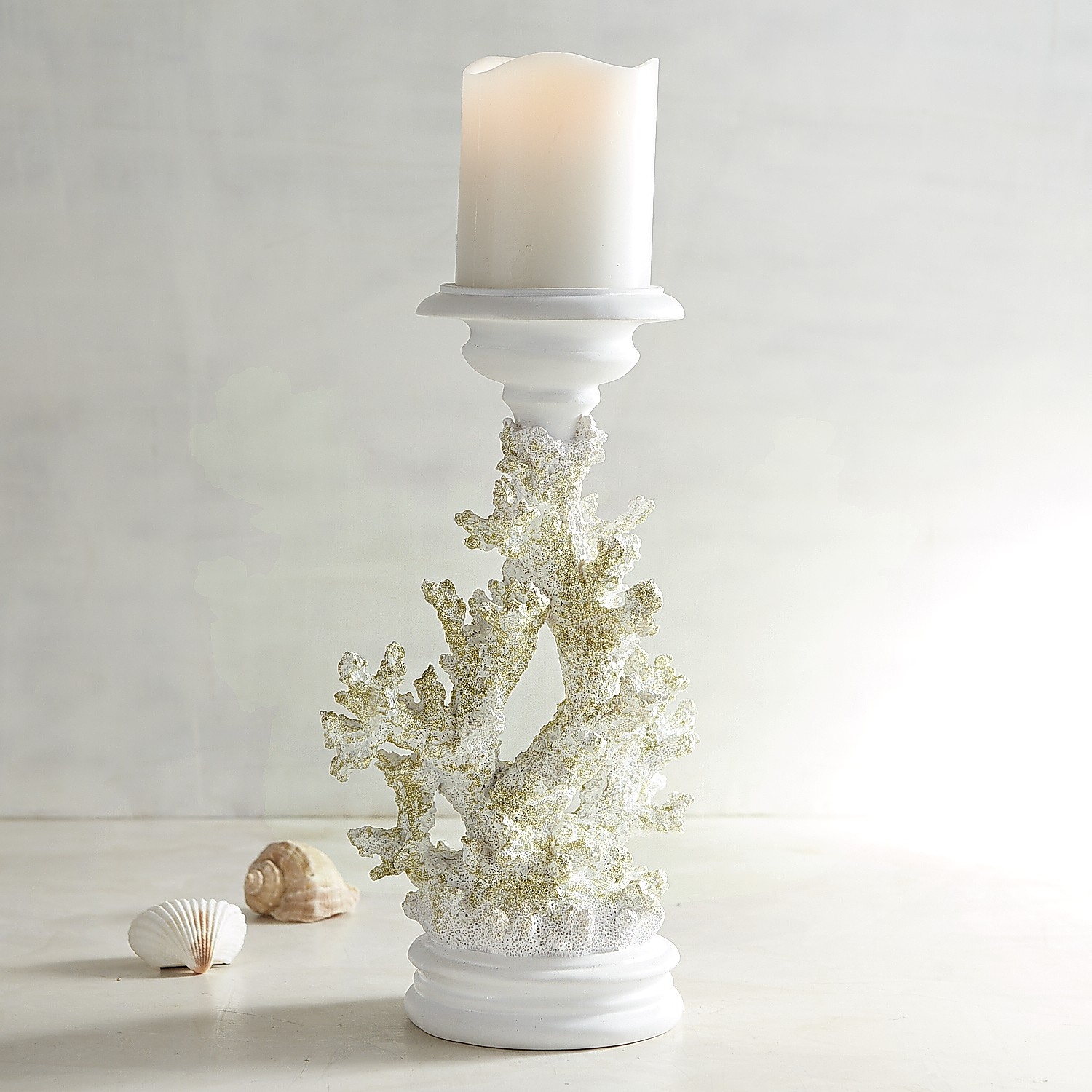 Gold & White Coral Pillar Candle Holder