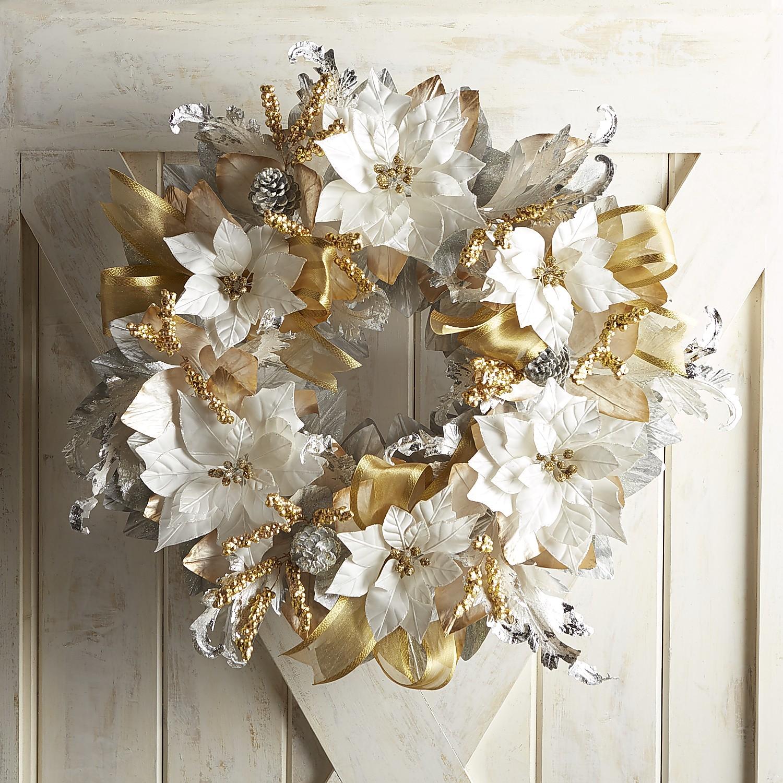 "Oversized Silver & Gold Faux Poinsettia 28"" Wreath"