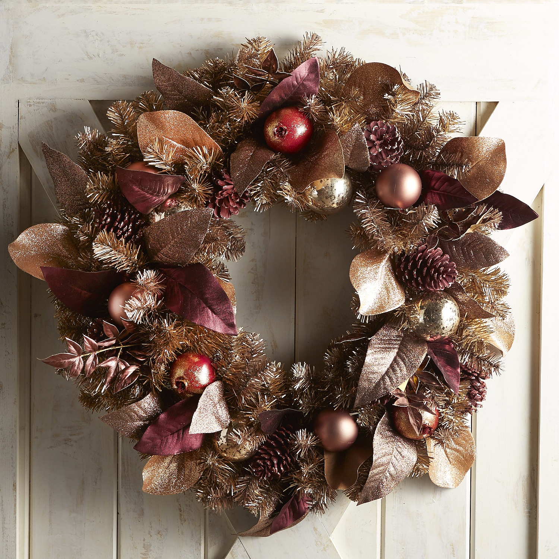"Oversized Metallic Magnolia Leaves 30"" Wreath"