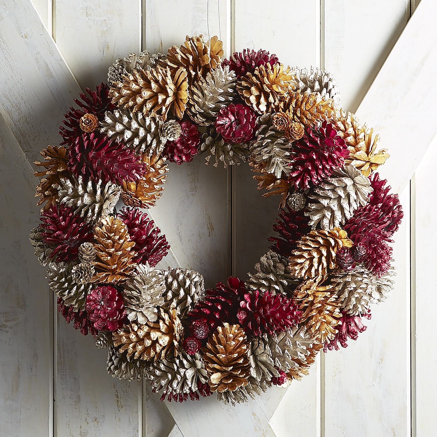 """Red & Gold 22"""" Pinecone Wreath"""