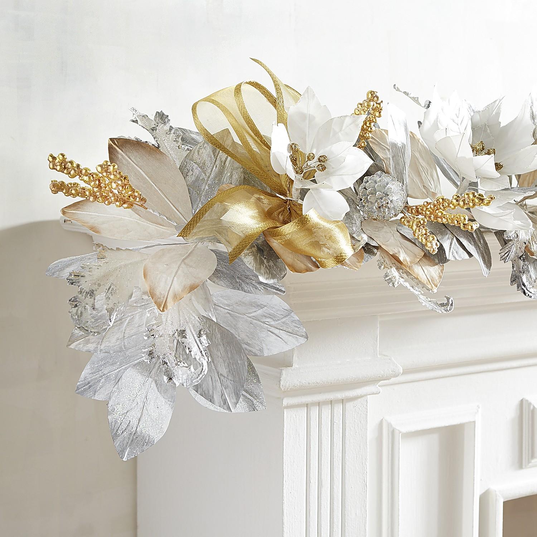 Silver & Gold Faux Poinsettia 6' Garland