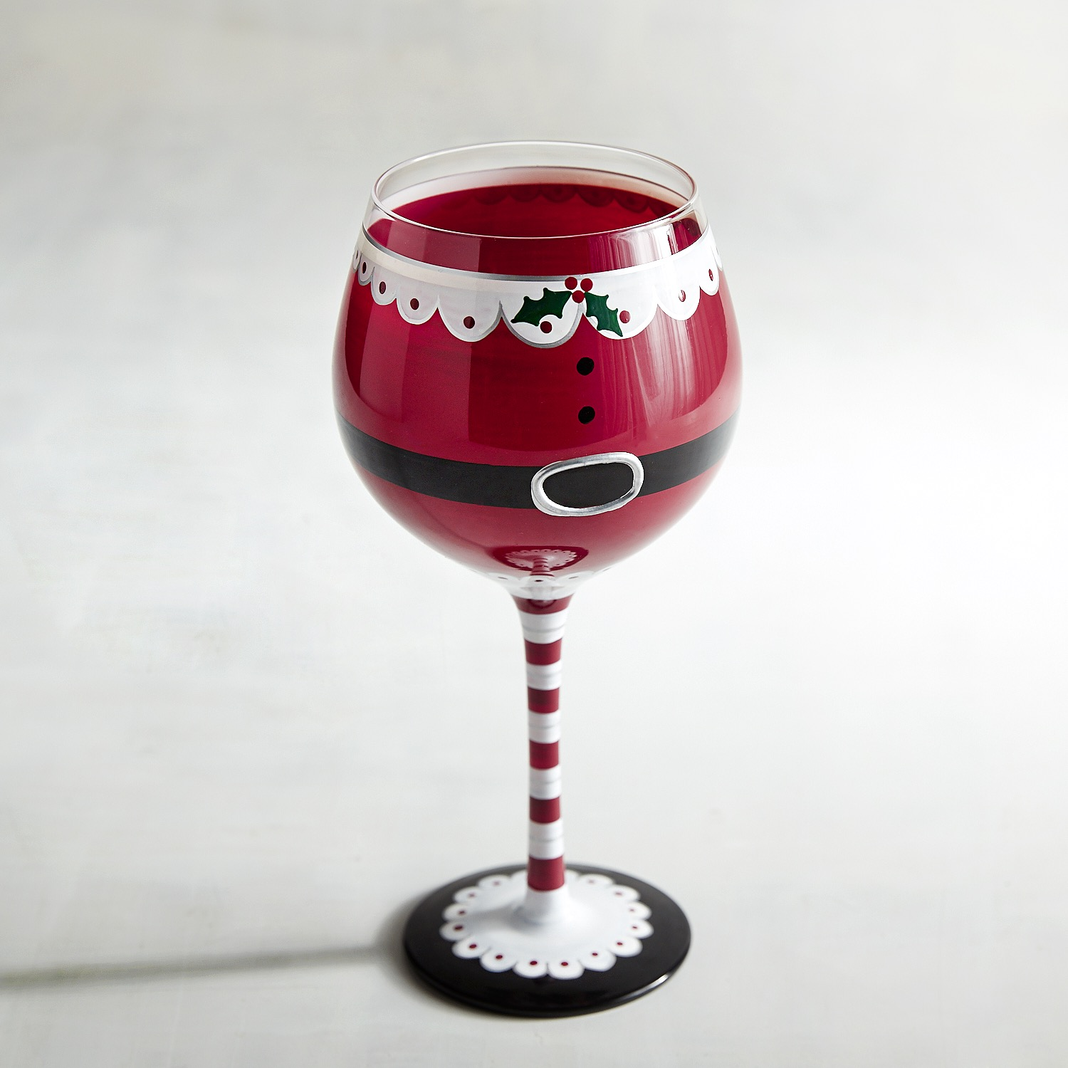 Mrs. Claus Painted Wine Glass