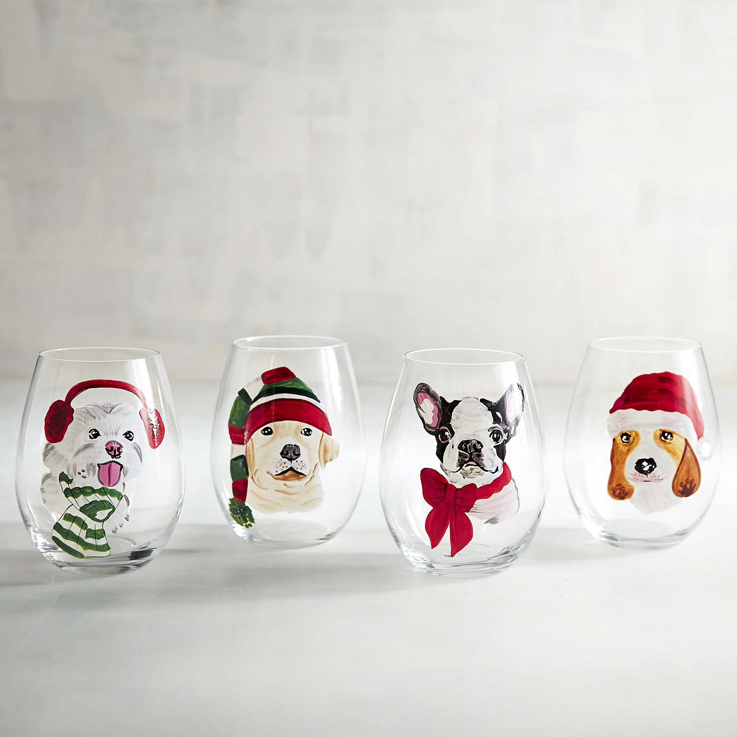 Christmas Puppies Painted Stemless Wine Glass Set