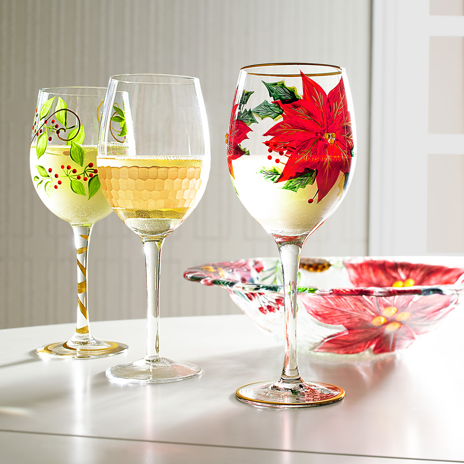 Poinsettia Painted Wine Glass