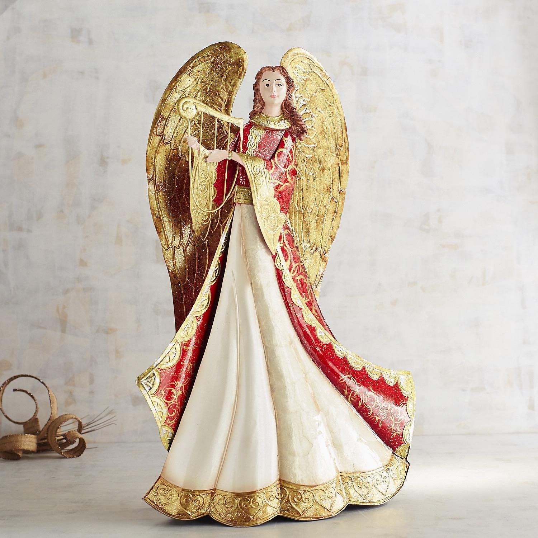 "Red & Gold 24"" Capiz Angel"