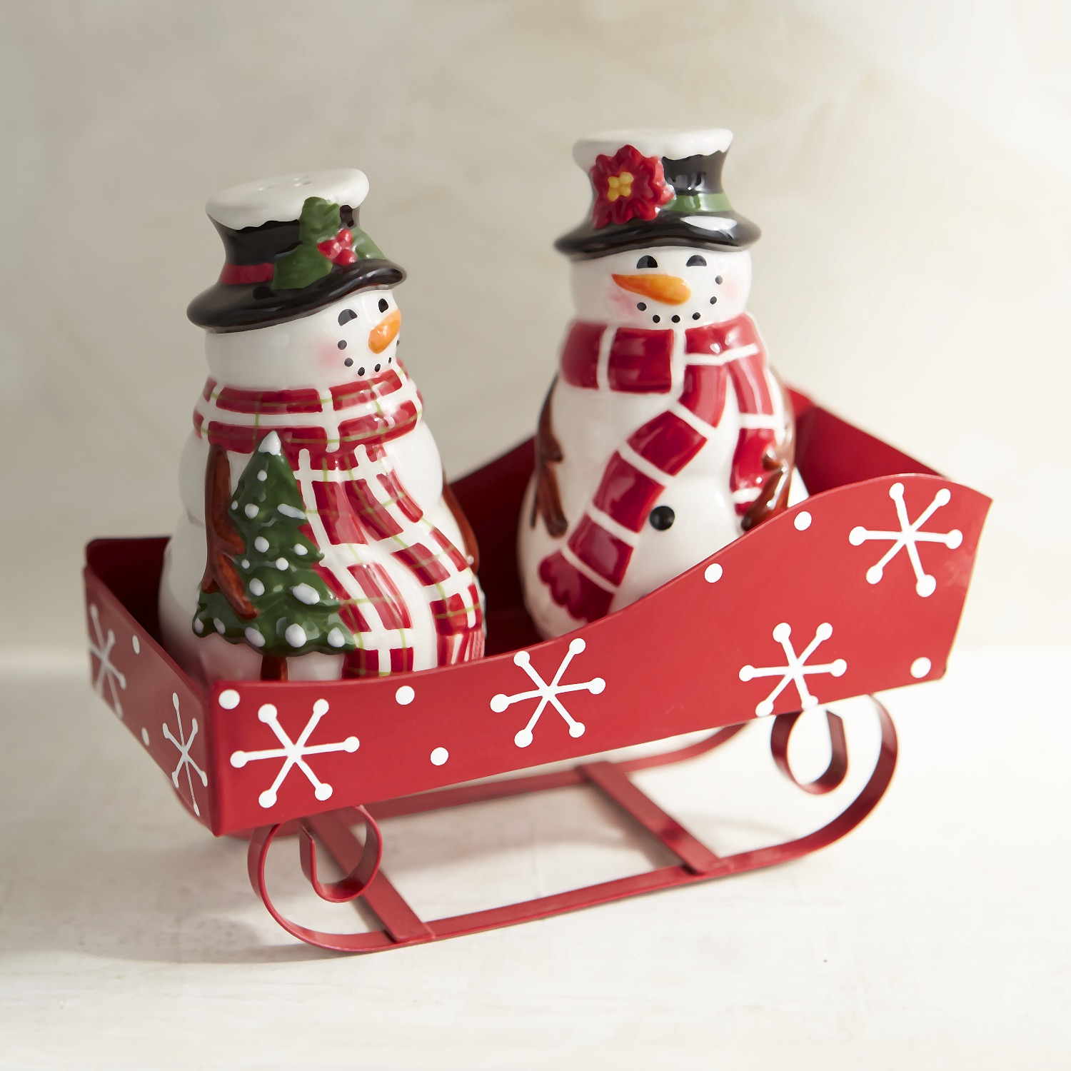 Snowmen & Sleigh Salt & Pepper Shakers