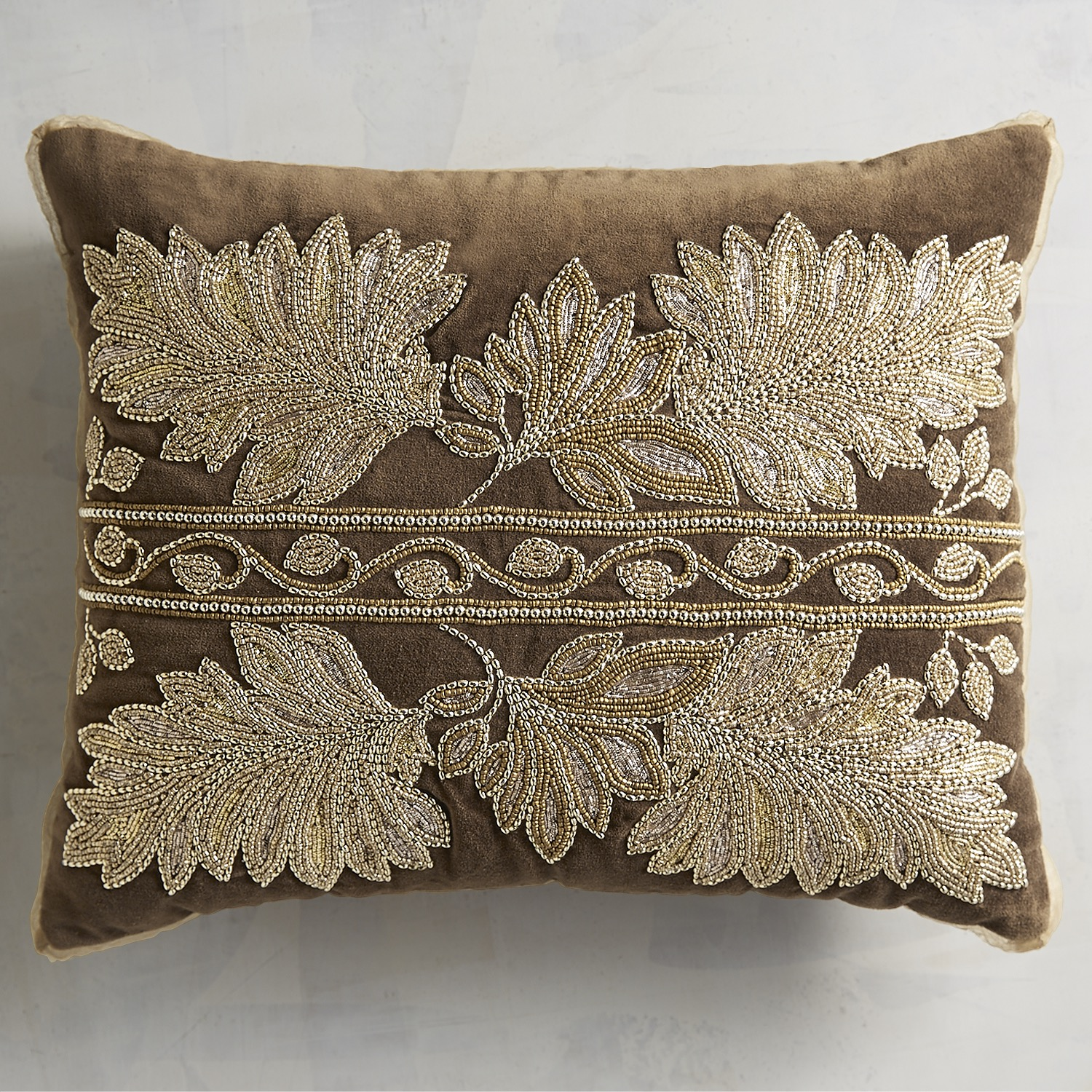 Chocolate Beaded & Gilded Leaves Pillow