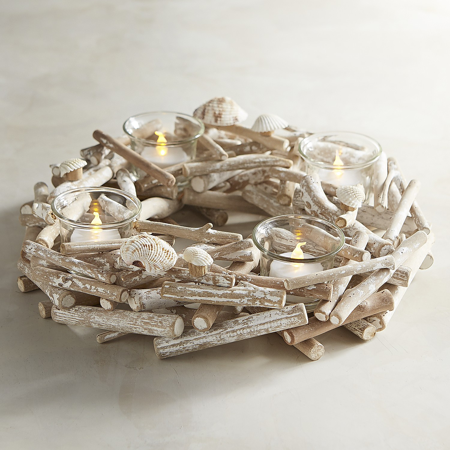 variation thumbnail of Seashell & Driftwood Tealight Candle Centerpiece