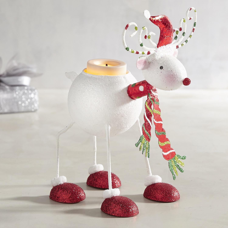 Glitter Reindeer Tealight Candle Holder
