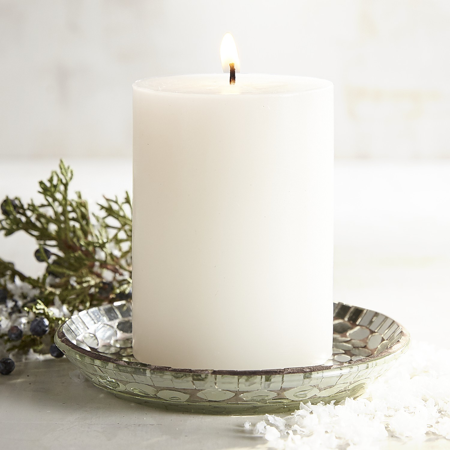 Snowy Birch Pillar Candle with Mosaic Plate