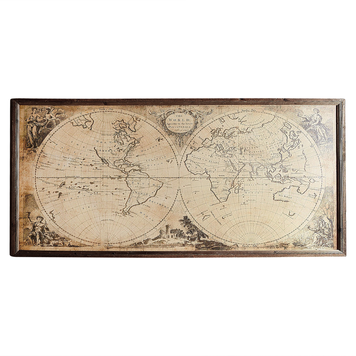 Vintage-Style World Map Framed Wall Art
